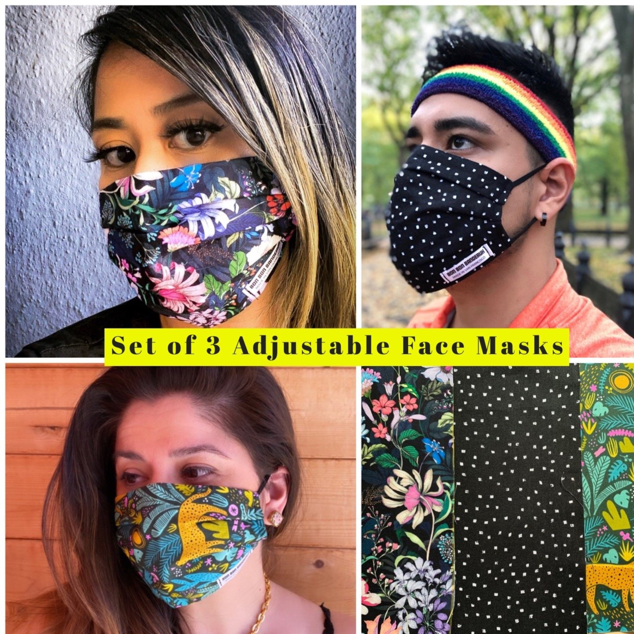Set of 3 Adjustable Size Face Masks (Pepper/Botanical/Rainforest)