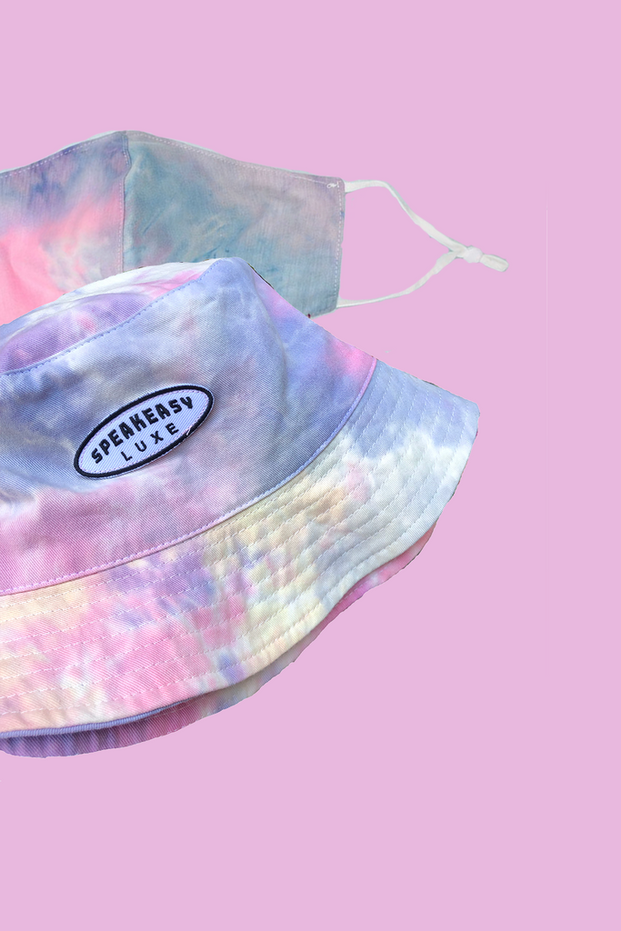 Tie Dye Bucket Hat Face Mask Set Pastel Tie Dye Speakeasy Luxe