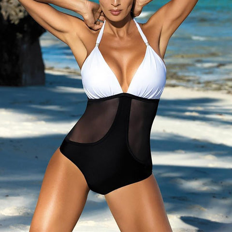 Female sex appeal collage gauze hollow body swimsuit