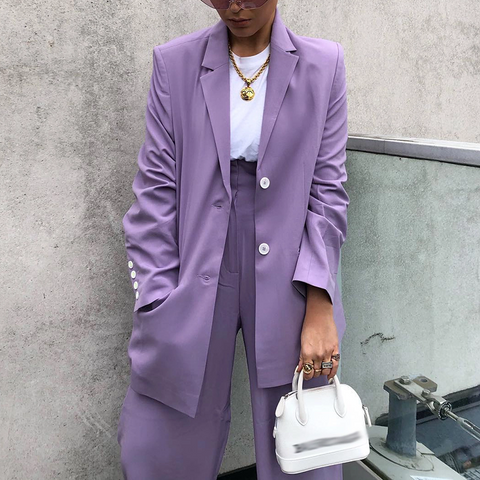 Fashion Purple Flip-Front Single-Breasted Long Sleeve Loose Suit
