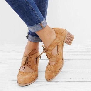 High-heeled laser lace-up women's shoes