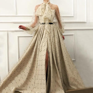 Fashion Elegant Lace-Up Transparent Spotty Long Sleeves Maxi&Evening Dress