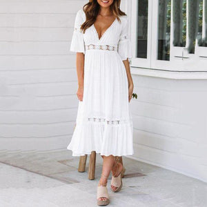 V-Neck Lace Trumpet Sleeve Dress