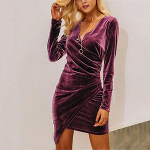 Casual Sexy V-Collar   Long-Sleeved Velvet Mini Dress