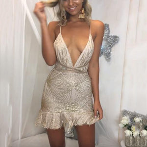Fashion Sexy V-Neck Halter Sling   Mini Dress(Video)