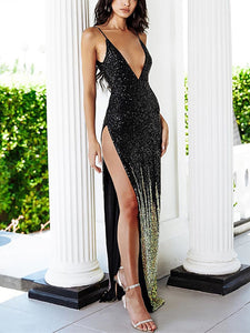 Sexy Sing Deep V Neck Backless Dress