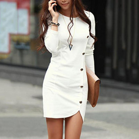 Round Neck Plain Decorative Button Bodycon Work Dress