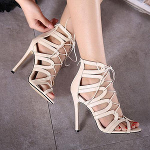 Lace Up Stiletto Hollow Out Plain High Heels