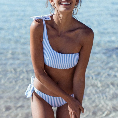 Sexy Stripe One Shoulder Bikini Swimwear
