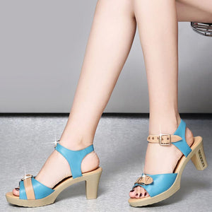 Color Block  Chunky  High Heeled  Ankle Strap  Peep Toe  Casual Date Sandals