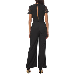 Sexy Lace Backless Pure Color Round Collar Jumpsuit