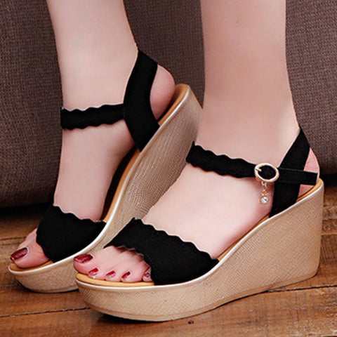 Plain  High Heeled  Velvet  Ankle Strap  Peep Toe  Casual Office Sandals