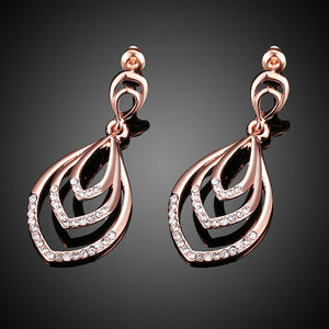Rose Gold Drops Czech Drill Earrings