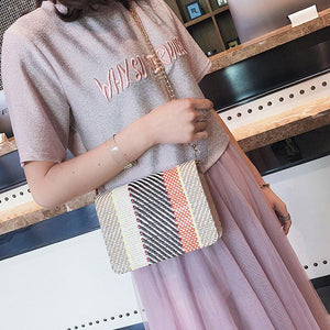Color Weaving Chain Crossbody Bag
