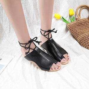 Casual Flat Open Toe Rivets Ties Sandals