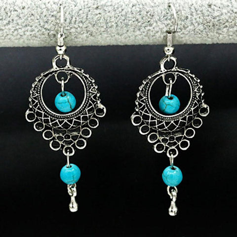 Bohemian Retro Turquoise Drop Earrings
