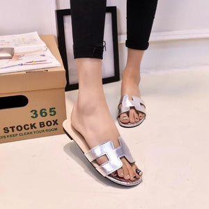 Casual Pure Color H Shape Flat Sandals