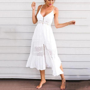 Lacy Split-Joint Spaghetti-Neck Maxi Dress