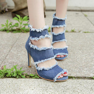 Fashion Fish Mouth Denim Thin High Heel Sandal