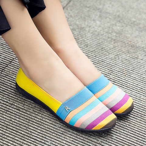 Canvas Color Block Daily Flat Loafers