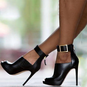 Metal Buckle High Fish Mouth High Heels