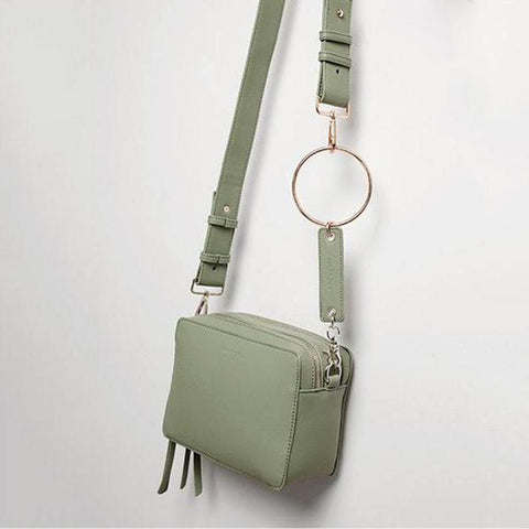 Fashion Plain Double Zip Square Crossbody Bag