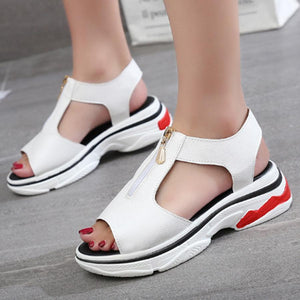 Plain  Mid Heeled  Peep Toe  Casual Platform Sandals