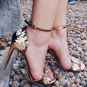 Metal Texture Handmade Flower Decoration High Heels Sandals