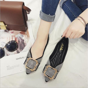 Pointed Metal Square Buckle Rhinestone Flat With Flat Shoes Comfortable Soft Sole Shoes