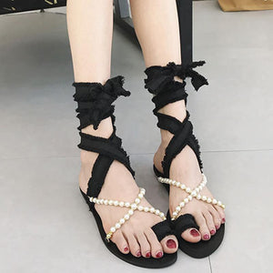 Female Flat-Bottomed Pearl Cross Strap Sandals