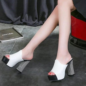 Waterproof Platform With Sandals Zebra Pattern High Heel Women's Shoes