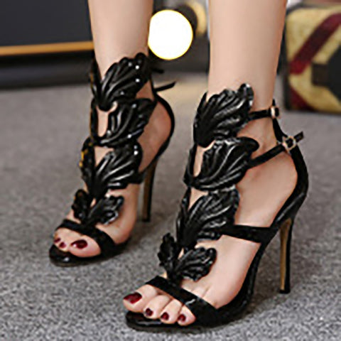 Luxury Metal Wings Stiletto Heels