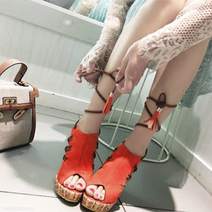 Muffin Wedges With Fish Mouth Casual Ladies Sandals