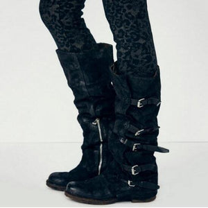 Women Large Size Plain Belt Buckle Knee Boots Flat Martin Boots