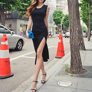 Elastic Tight-Fitting Sleeveless Split Dress