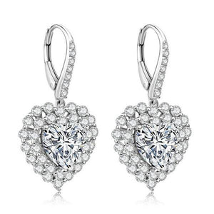 Luxury Heart-Shaped Full Diamond Earrings Ladies