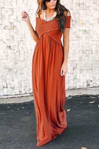 Off Shoulder  Plain  Short Sleeve Maxi Dresses