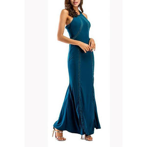 Elegant Fashion Slim Plain Sleeveless Halter Evening Dress