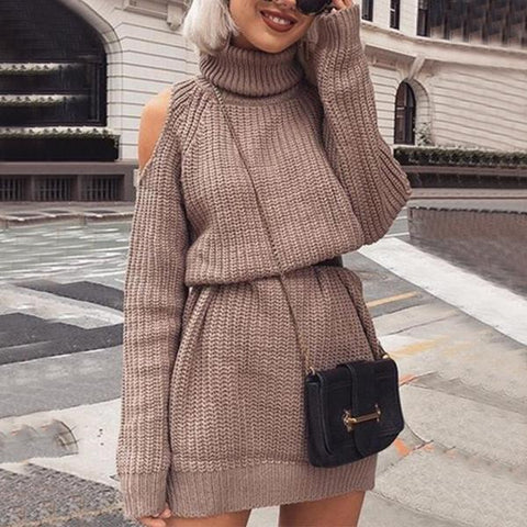 A Long Sexy Sweater Dress With An Off-The-Shoulder High Neck