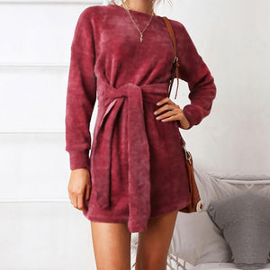 Autumn Winter Fashion Round Collar Long Sleeve Belt To Wrap Hip Dress