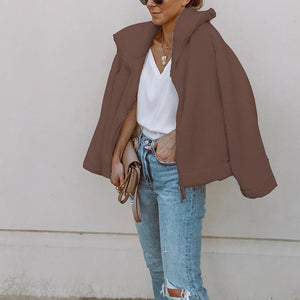 Fashion Lapel Long Sleeve Plain Zipper Casual Jackets