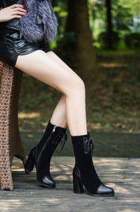 Chic Thick Heel Mid-Heeled Martin Boots