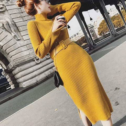 Fashion Pure Colour   High Collar Long Sleeve Slit Dress