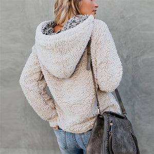 Pure Color Hooded   Plush Sweater