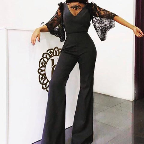 Sexy V-Neck Lace Mid-Sleeve   Jumpsuit