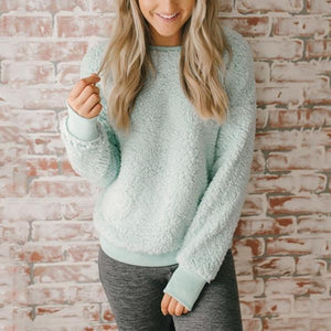 Sexy Pure Color Round Collar Casual Long Sleeve Plush Sweater