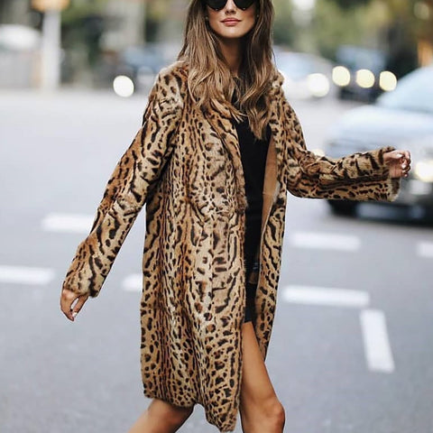 Fashion Leopard Print Long Sleeve Cardigans Coat