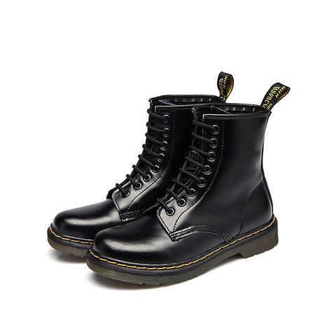 Autumn Winter Flat Low-Heeled British Martin Boots In The Tube Couple Leather Short Boots Motorcycle Boots