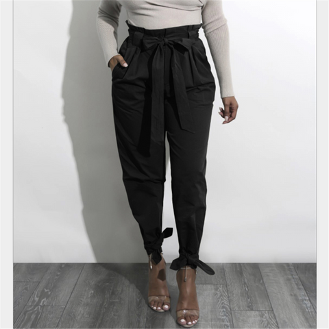 Solid Color High-Waisted Loose Casual Pant
