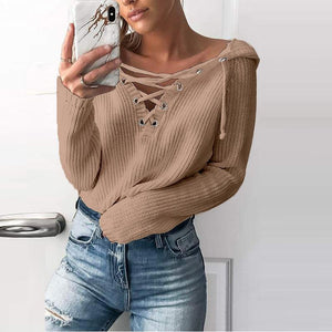 Casual Pure Color   Short V Neck Hooded Sweater